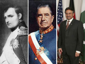 Left to right: Napoleon Bonaparte, Augusto Pinochet and Pervez Musharraf all rose to power in coups d'etat.
