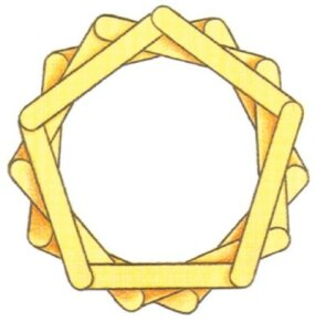 Lay the craft stick pentagons on top of each other.