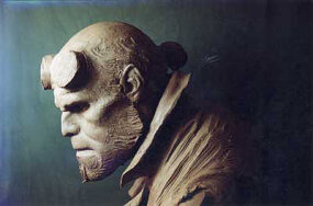Make-up design bust of Hellboy profile