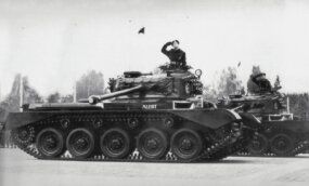 The Cromwell was too lightly gunned to effectively deal with Nazi German Tigers and Panthers. A new version, mounting a 77mm gun, appeared in November 1944.