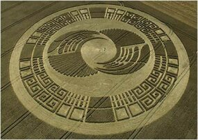 A crop circle near Silbury Hill in Wiltshire, England, that resembles an Aztec Sun Stone