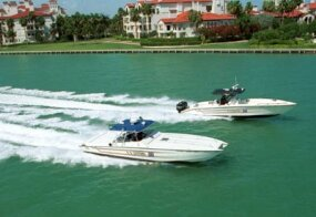 U.S. Customs Service speed boats patrol the coast of southern Florida, a common entry point for drug smugglers.