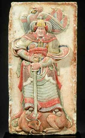 In 1994, this valuable, 1,000-year-old Chinese sculpture was stolen from the Five Dynasties tomb of Wang Chuzhi. In spring of 2001, U.S. Customs officers identified it in a Christie's auction catalogue and returned it to the Chinese government.