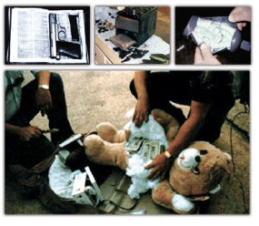 People will try anything to smuggle contraband past the customs service. These pictures show a gun hidden in a bible, marijuana concealed in a car battery, and cash hidden inside a shampoo bottle and a teddy bear.