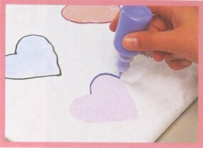 Use dimensional paint to outline each heart.