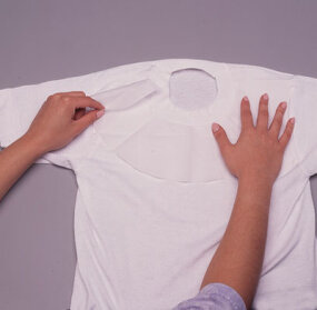 Place fusible webbing on t-shirt.