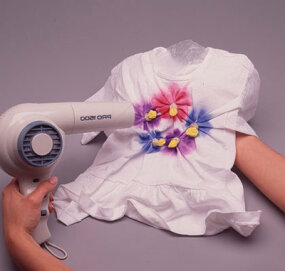 Blow dry to stop paint bleeding.