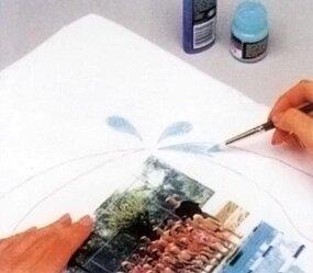 Use fabric paint brushes to brush soft
