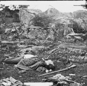 "Gettysburg, Pa. Dead Confederate soldiers in ""the devil's den"""