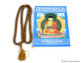A Buddhist mala and the Dhammapada: 108 beads and 423 verses