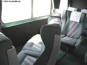 The seats on this car can be turned around to face each other so four people can sit together.