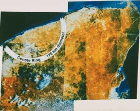 Satellite image of the Chicxulub impact site