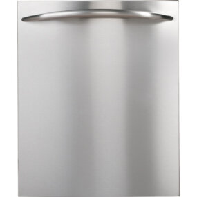 This high-end dishwasher has its controls hidden inside the top edge of the door.