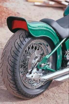 Double Trouble's ducktail rear fender is similar to those used on some Harleys.