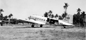 A Douglas C-47 attached to the Air Transport Command of the U.S. Army Air Forces stands at the ready in India in 1945. This plane would be loaded with supplies needed by American troops in China.