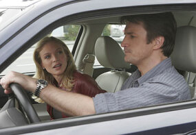 Corinna (Kristin Lehman) and Alex (Nathan Fillion) partner up to participate in the underground road race.