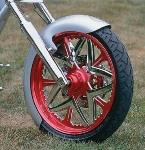 Red anodized wheels give off a radiance of their own.