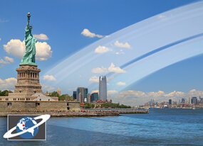 If Earth had rings, cities like New York far from the equator would have an impressive angled view.