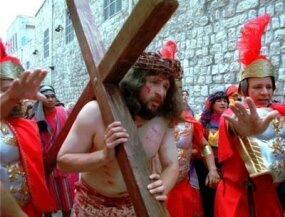 Anthony Rivilla from Los Angeles, CA, participates in the Passion Play in Jerusalem's Old City Friday April 21, 2000.