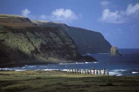 Moai line Easter Island's coast to protect the Rapanui.