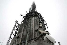 Communications devices for broadcast stations are located at the top of the Empire State Building