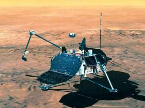This rendering shows the Mars Polar Lander using an articulated robot arm to collect soil samples. The 639-pound spacecraft was launched from on January 3, 1999. Unfortunately, it disappeared into the Martian atmosphere and was lost to NASA scientists.