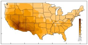 evaporation power map of united states