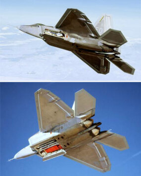 Top: Side weapons bay holding AIM-9 Sidewinders, extended for firing Bottom: Main weapons bay holding AIM-120s