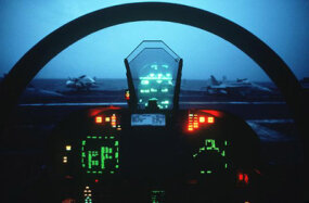 The F-18 cockpit puts all the control of this powerful war machine at the pilot's finger tips.