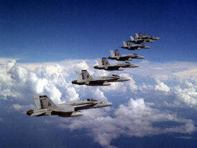 Super Hornets in formation