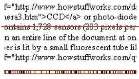 The scanning process: The scanner in a fax machine looks at one line of the sheet of paper. The scan line is shown here in red. It sees a group of black and white spots, shown blown up in the red rectangle at the bottom of the figure. It encodes the pattern of spots and sends them through the phone line.