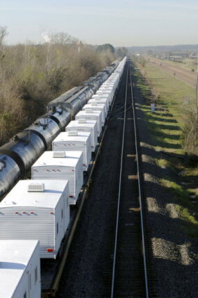 fema trailers on train