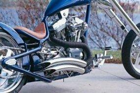Fendered Spoon's Harley-Davidson engine.