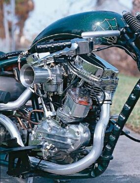 The Harley-Davidson Panhead engine hails from the 1950s, but received modern internal components on Fiend -- and 93 cubic inches of displacement. Morris magneto beside the front cylinder provides spark, 1950s style.