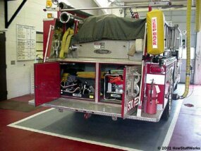 "Fire engines used for rescue will often have the ""Jaws of Life"" onboard."