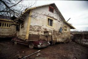 A house that was carried downstream by 1997 flooding in Arboga, California