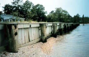 Breakwater walls in Maryland, built to slow beach erosion