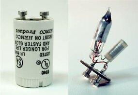 Inside the casing of a conventional fluorescent starter there is a small gas discharge lamp.