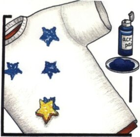 Sponge star shapes onto the T-shirt.