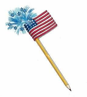 The finished pencil features stars and stripes.