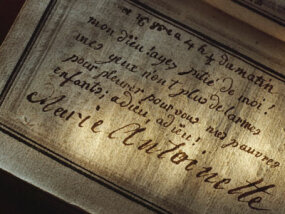 "Marie Antoinette's last inscription in her prayer book, which reads, ""My God, have pity on me! My eyes have no more tears to cry for you my poor children; adieu! adieu!"""