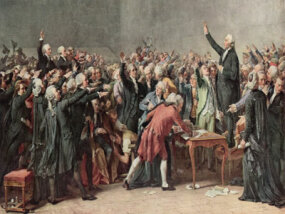 An artist's depiction of the Tennis Court Oath, by which the French vowed to write a constitution for the people.