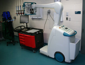 A mobile, digital radiography system in the Aquarium's surgery. The x-ray emitter sends a signal to the plate, which sends an image to the screen.