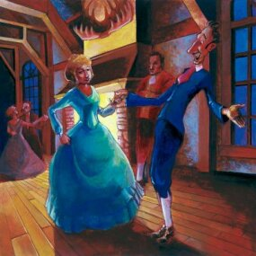 Ichabod asks Katrina to dance.