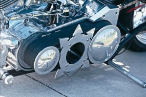 A machined primary cover is yet another one-of-a-kind touch on this radical chopper.