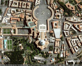 St. Peter's Basilica (domed building in lower center), Vatican City, Rome