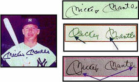 Mickey Mantle's known signature is on top; the FBI determined that the bottom two signatures are forgeries. Note the shaky line quality and variations in the starting and ending strokes.