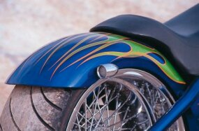 Hard Tail's creatively decorated rear fender.