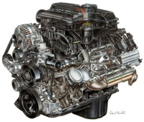 5.7-liter HEMI Magnum V-8 engine from the 2003 Dodge Ram