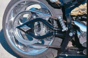 The spear-shaped swingarm is another customized detail that sets the High Roller apart from other bikes.